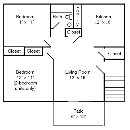 Diagram of 2-bedroom floor plan